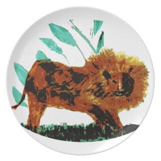 Lejon vilddjurillustration tallrik