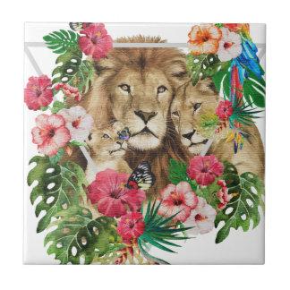 Lejona djur för vildkungdjungel kakelplatta