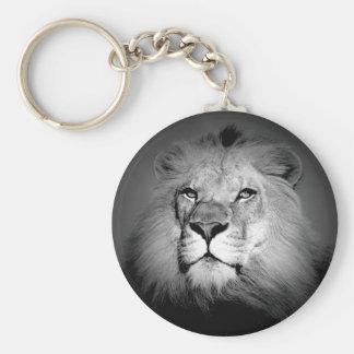 Lejona svart & vit rund nyckelring