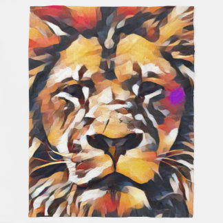 Lejont ansikte för färgrik modern Cubism Fleecefilt