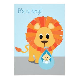 Lejont & baby - det är en pojke! 12,7 x 17,8 cm inbjudningskort
