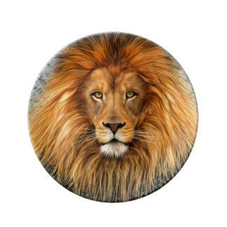 Lejont fotografera målar konst avbildar porslinstallrik