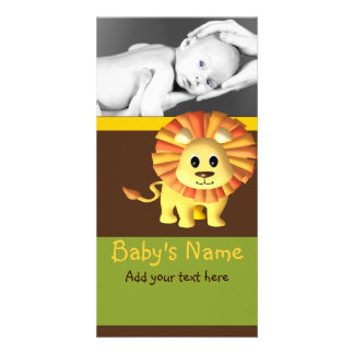 Lejont meddelande för baby hälsningskort med foto