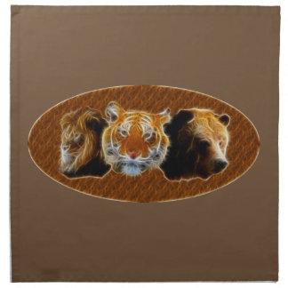 Lejont och tiger och björn tygservett