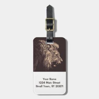 lejont rita lejon konst vrålar svartvitt bagagebricka