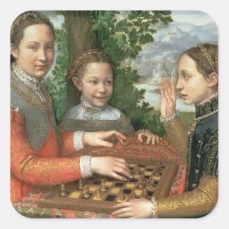 Lek av schacket, 1555 fyrkantigt klistermärke