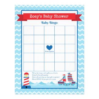 Lek för baby shower för tema för babyBingo nautisk Reklamblad 21,5 X 30 Cm