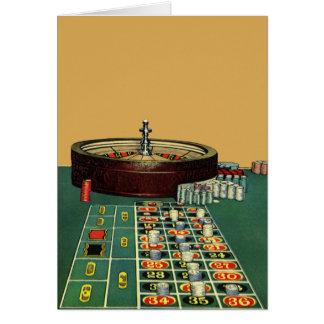 Lek för kasino för vintageroulettbord som spelar hälsningskort