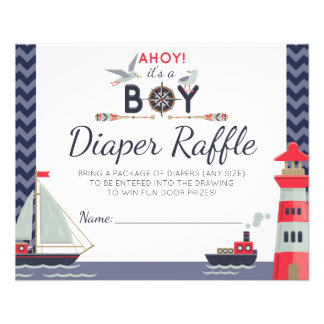 Lek för pojke för segelbåt för blöjaRaffle nautisk Flygblad