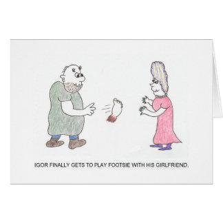 Leka kortet för Footsie tecknadfödelsedag Hälsningskort