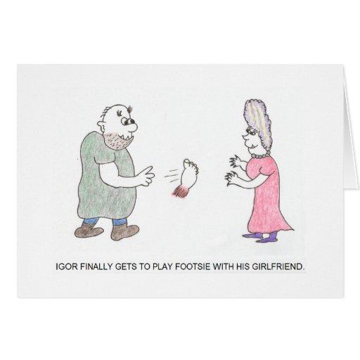 Leka kortet för Footsie tecknadfödelsedag Kort