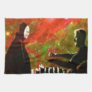 Leka schack med död kökshandduk