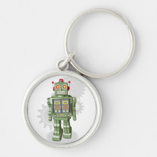 Leksakrobot Keychain Rund Silverfärgad Nyckelring