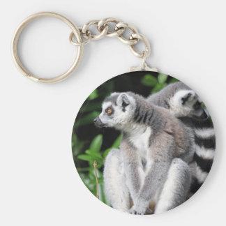 Lemur ring-tailed gullig fotonyckelring, keychain rund nyckelring
