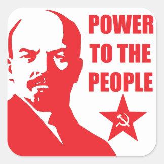 """Lenin """"driver till folket"""" klistermärkear fyrkantigt klistermärke"""