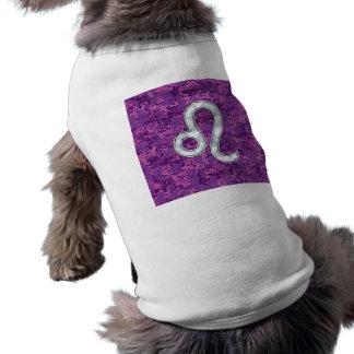 Leo undertecknar på rosa Fuchsia Digital Hundtröja