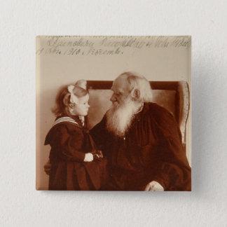 Leon Tolstoy med hans sondotter, Tatiana Standard Kanpp Fyrkantig 5.1 Cm