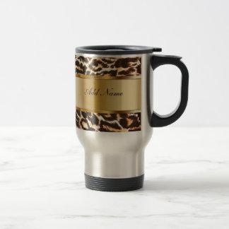 Leopard för Monogramkaffetravel mug Mugg