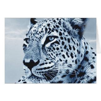 Leopard i svartvitt hälsningskort