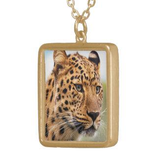 Leopardansiktehalsband Guldpläterat Halsband