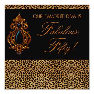 LeopardDivakvinna sagolika födelsedagsfest 50 Fyrkantigt 13,3 Cm Inbjudningskort