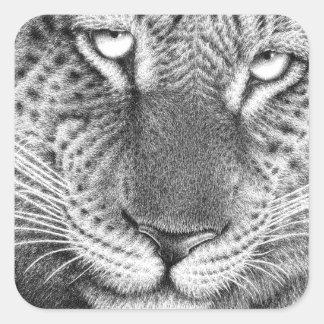 Leopardklistermärke Fyrkantigt Klistermärke