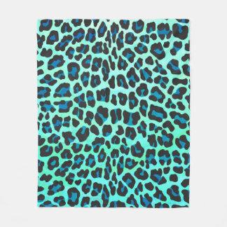 Leopardsvart och krickatryck fleecefilt