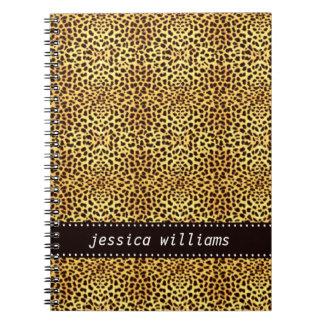 Leopardtryck Anteckningsbok Med Spiral