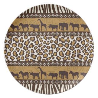 Leopardtryck- och afrikandjur tallrik