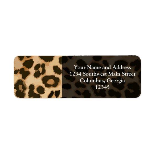 Leopardtryckbakgrund Returadress Etikett