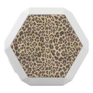 Leopardtryckdjur flår mönster vit bluetooth högtalare