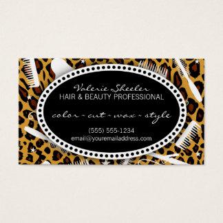 Leopardtryckhår & skönhettidsbeställning visitkort