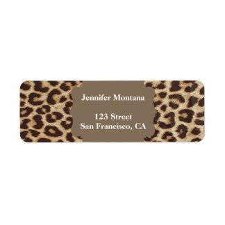Leopardtryckreturetiketter Returadress Etikett