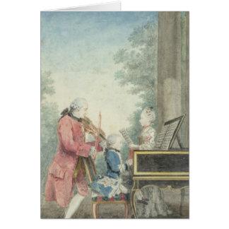 Leopold Mozart och hans barn Wolfgang Hälsningskort