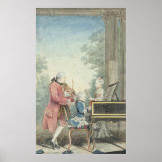 Leopold Mozart och hans barn Wolfgang Poster