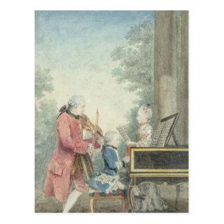 Leopold Mozart och hans barn Wolfgang Vykort