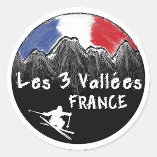 Les 3 Vallées frankrikeskier Runt Klistermärke