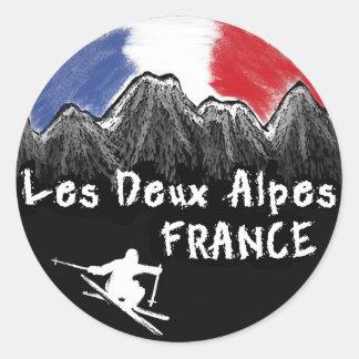 Les Deux Alpes frankrikeskier Runt Klistermärke