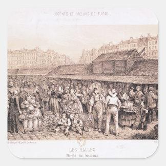 Les Halles, 1855 Fyrkantigt Klistermärke