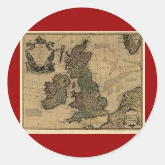 Les Isles Britanniques, karta 1700's Runt Klistermärke