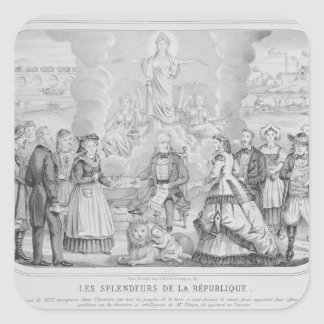 Les Splendeurs de la Republique', 1872 Fyrkantigt Klistermärke