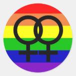 Lesbisk pride runda klistermärken