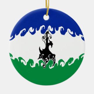 Lesothisk Gnarly flagga Rund Julgransprydnad I Keramik