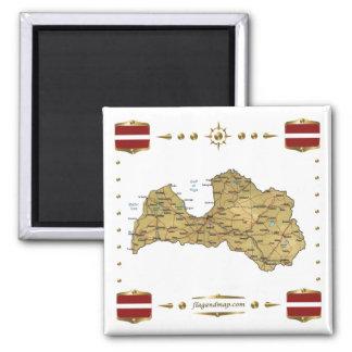 Lettland karta + Flaggormagnet Magneter För Kylskåp