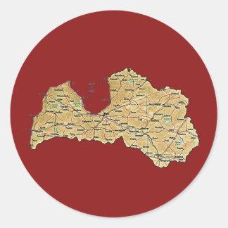 Lettland kartaklistermärke runt klistermärke