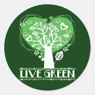 Levande gröntabstraktträd runt klistermärke