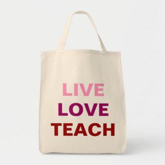Levande kärlek undervisar hänger lös tote bags