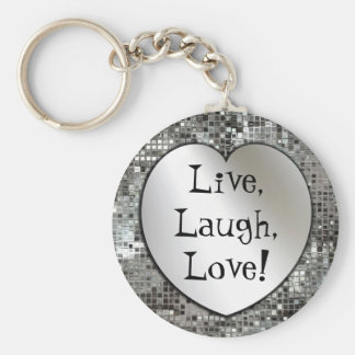 Levande skratt, kärlek! Glitter Keychain Rund Nyckelring