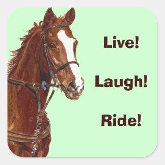 Levande! Skratt! Ritt! Hästklistermärkear Fyrkantigt Klistermärke