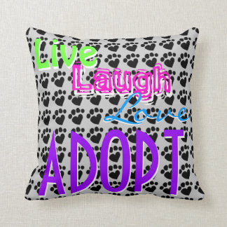 Levande skrattkärlek ADOPTERAR dekorativ Kudde